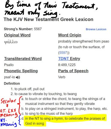 2018 KJV lexicon on psallo