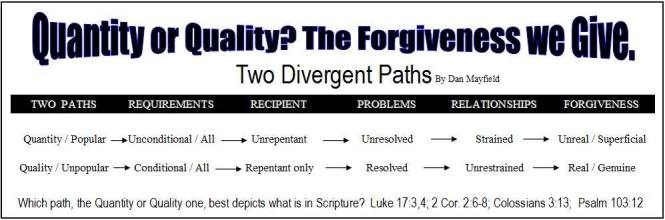 quantity or quality faux or real forgiveness